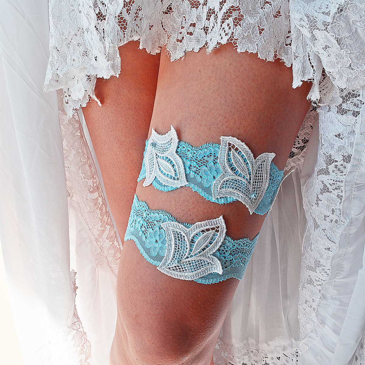 Sky Blue Bridal Garter With Pearls & Ivory Leaf Appliques - Wedding Garter - SuzannaM Designs