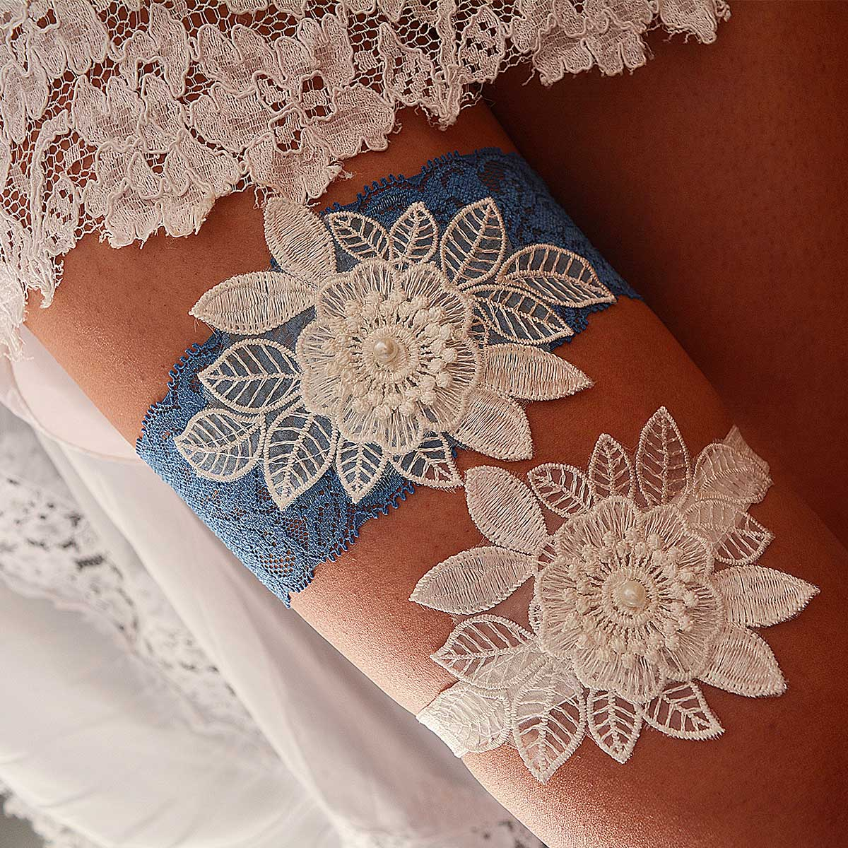 Teal Blue Bridal Garter With 3D White Flower Applique & Pearls - Wedding Garter - SuzannaM Designs