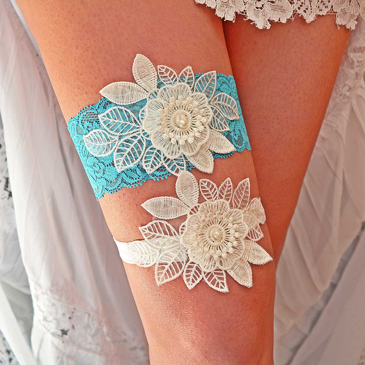 Turquoise Garter With 3D White Flower Applique & Pearls - Wedding Garter - SuzannaM Designs