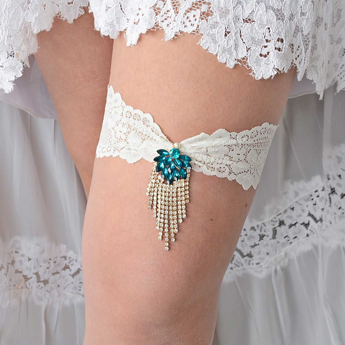 Teal Blue Rhinestone Set of Bridal Garters With Ivory Lace