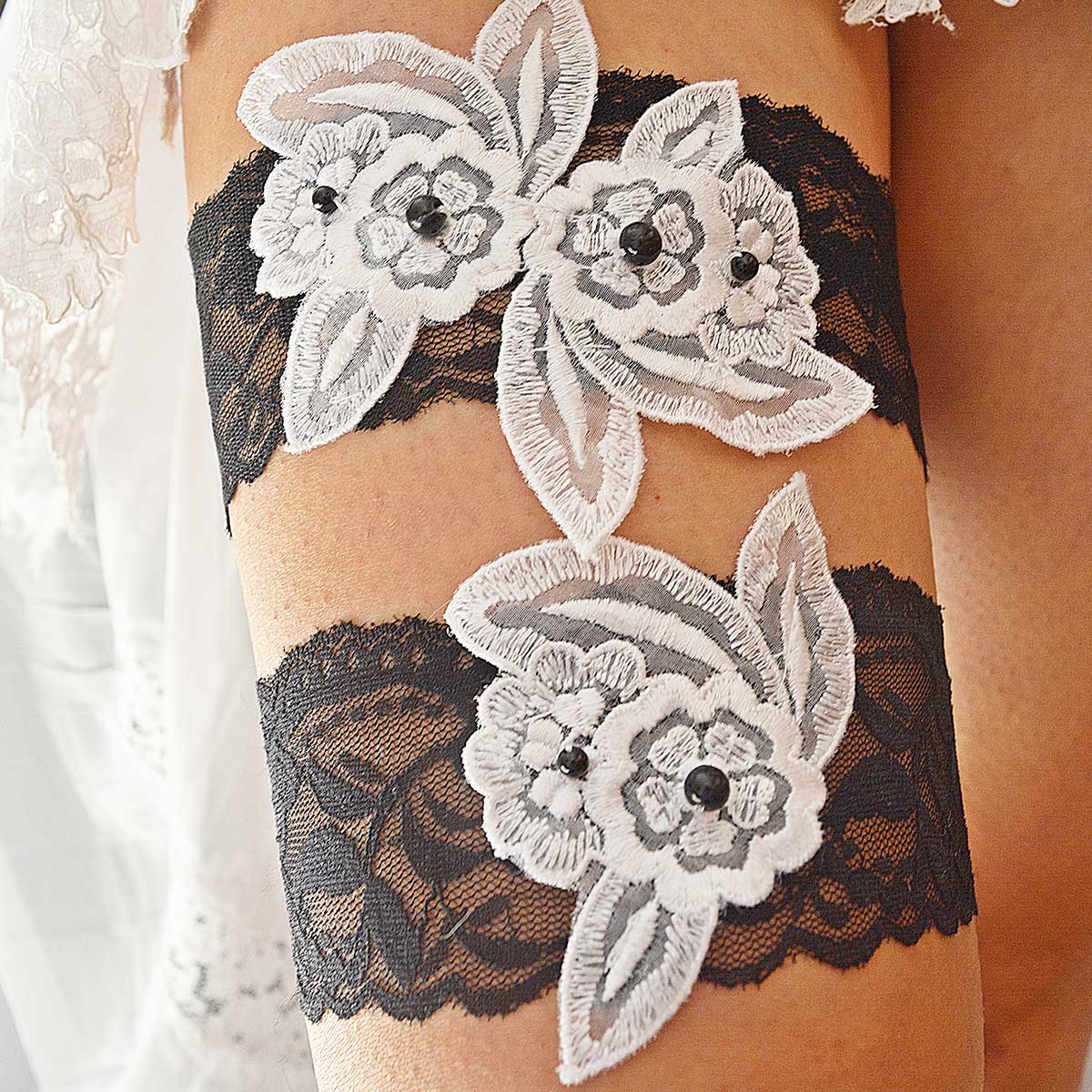 Total Black Bridal Garter With Flower Lace Applique & Pearls