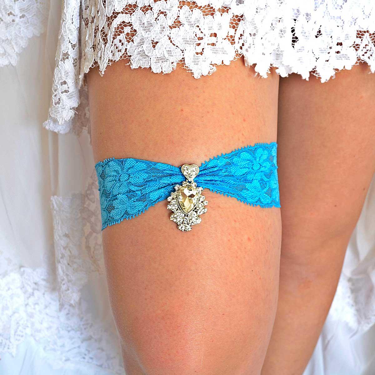 Turquoise Lace Wedding Garter With Clear Rhinestone - Wedding Garter - SuzannaM Designs