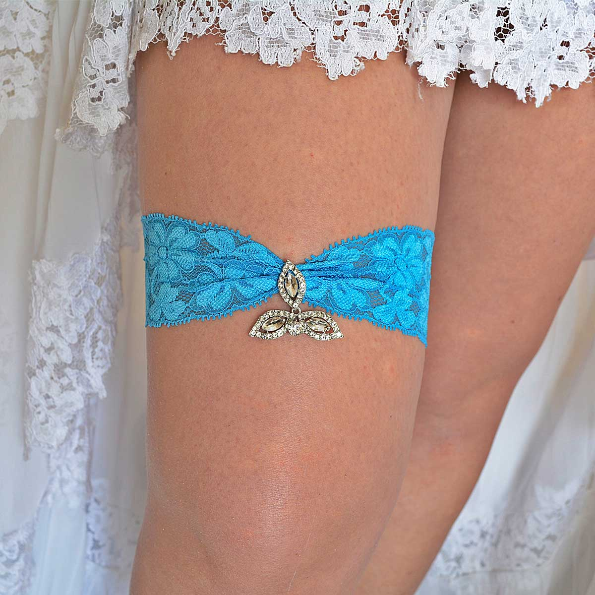 Turquoise Wedding Garter Set With Clear Rhinestone - Wedding Garter - SuzannaM Designs