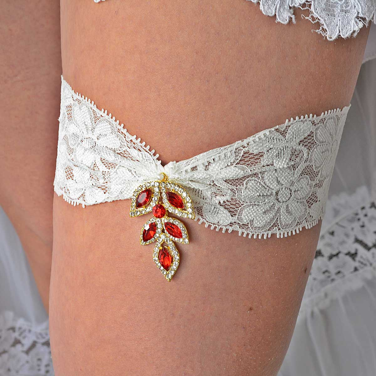 Vintage Gold & Red Rhinestone Bridal Garter With Ivory Lace - Wedding Garter - SuzannaM Designs