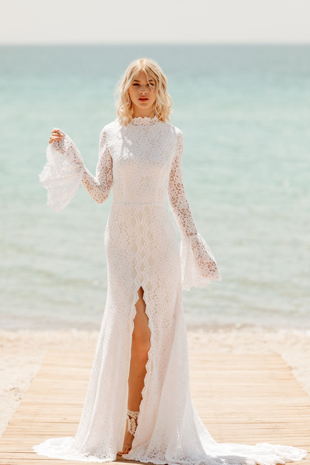 Virginia High Neck Mermaid Lace Wedding Dress - Wedding Dress - SuzannaM Designs