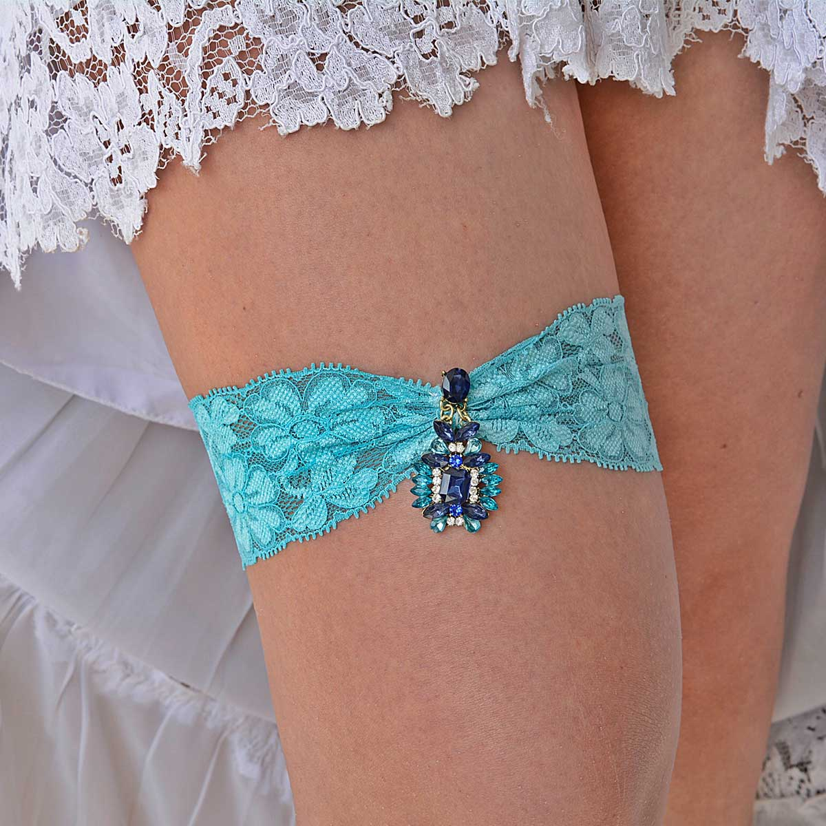 Wedding Garter Set With Navy Blue & Teal Blue Butterfly Jewel