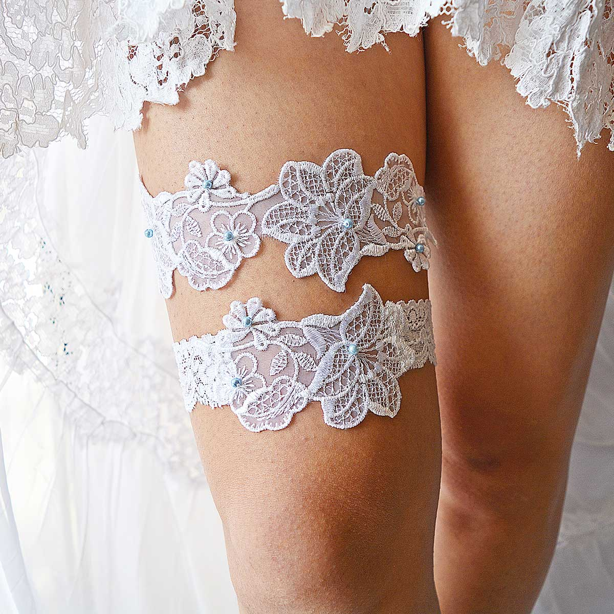 White Bridal Garter With Applique Lace And Pale Blue Pearls - Wedding Garter - SuzannaM Designs
