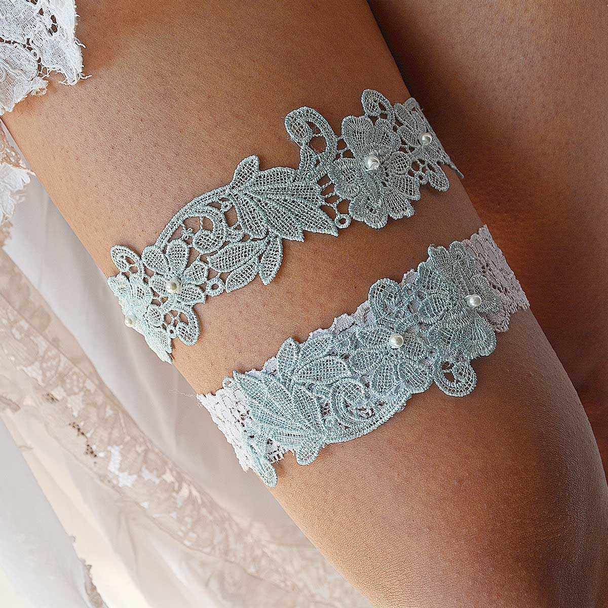 White Bridal Garter With Aqua Blue Flower Applique & Pearls - Wedding Garter - SuzannaM Designs