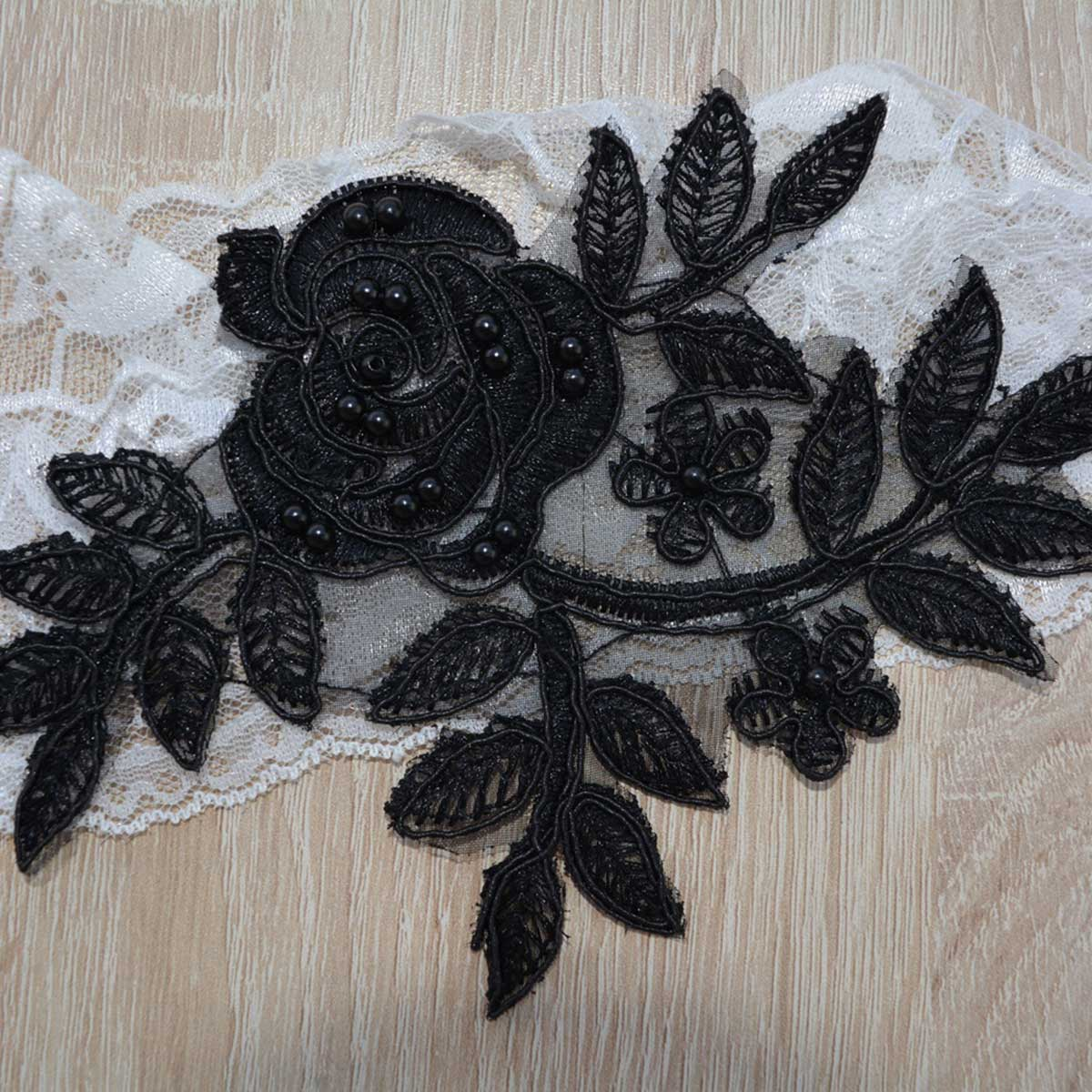 White Bridal Garter With Black Flower Lace Applique & Pearls