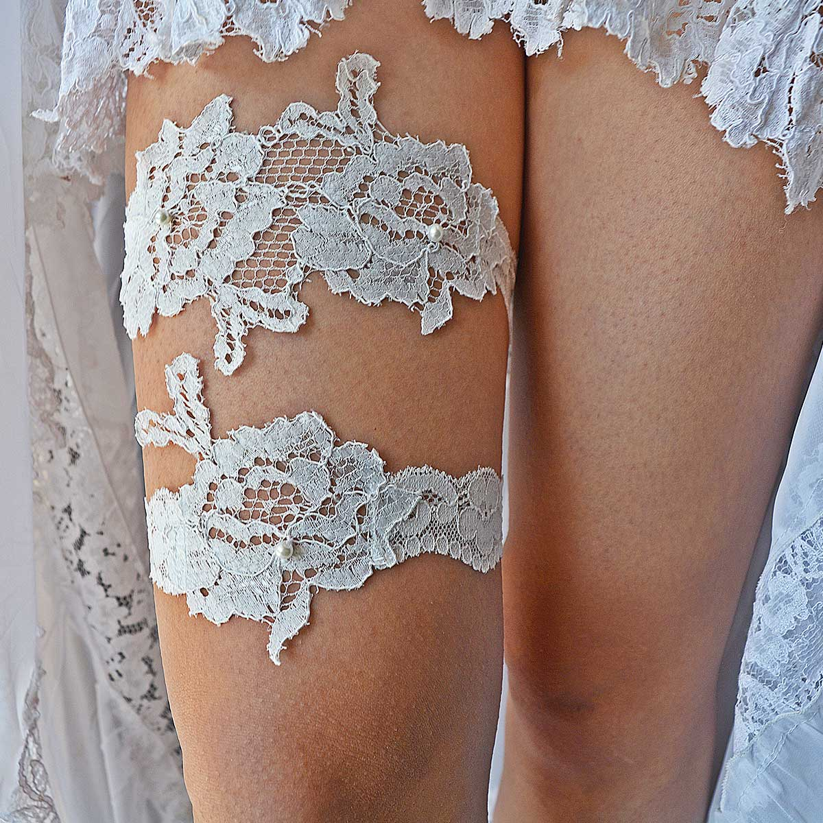 White Bridal Garter With Flower Applique Lace & Pearls - Wedding Garter - SuzannaM Designs