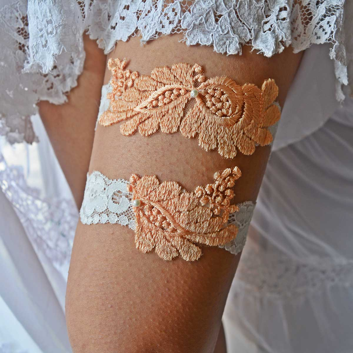 White Bridal Garter With Peach Applique Lace And Pearls - Wedding Garter - SuzannaM Designs