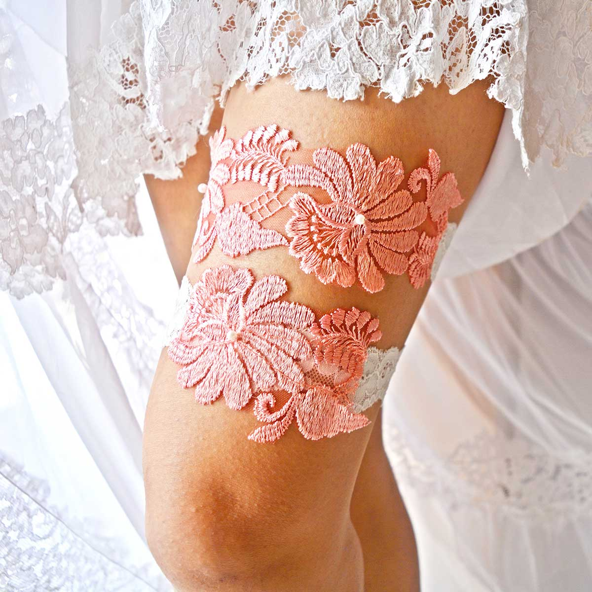 White Bridal Garter And Coral Applique Lace And Pearls - Wedding Garter - SuzannaM Designs