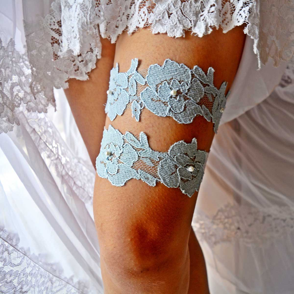 White Bridal Garter With Pearls And Pale Blue Applique Lace - Wedding Garter - SuzannaM Designs