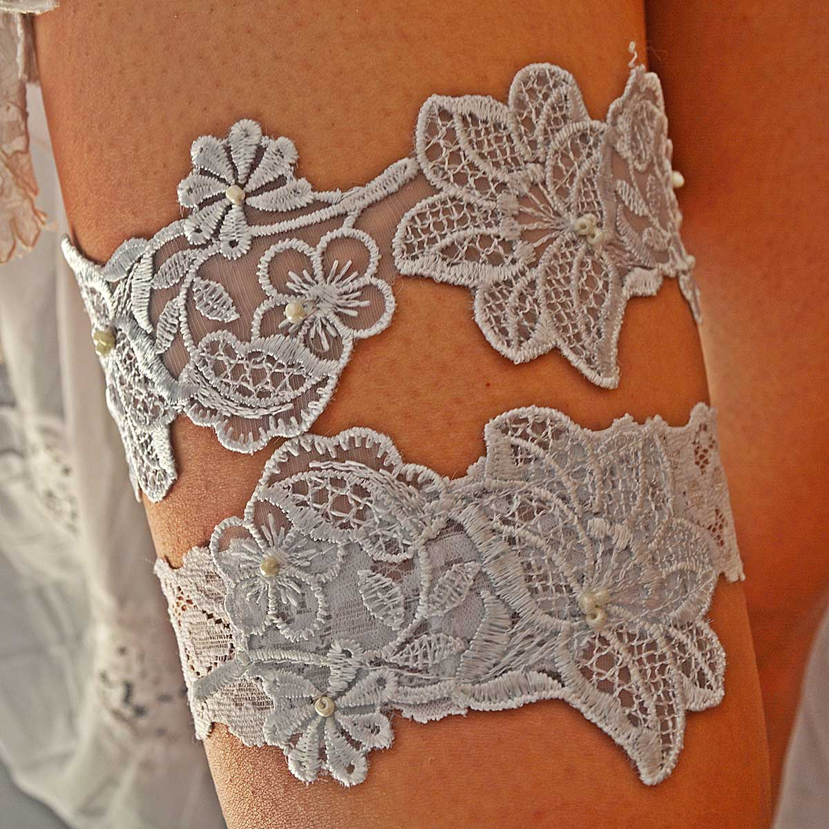 White Bridal Garter With Pearls & Baby Blue Lace Applique
