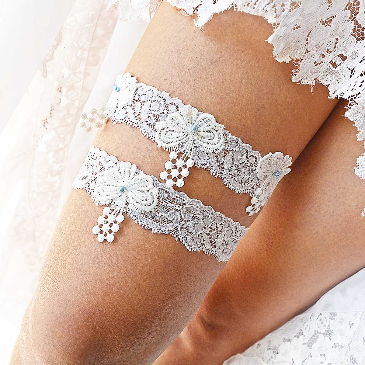 White Bridal Garter With Pearls & Butterfly Appliques