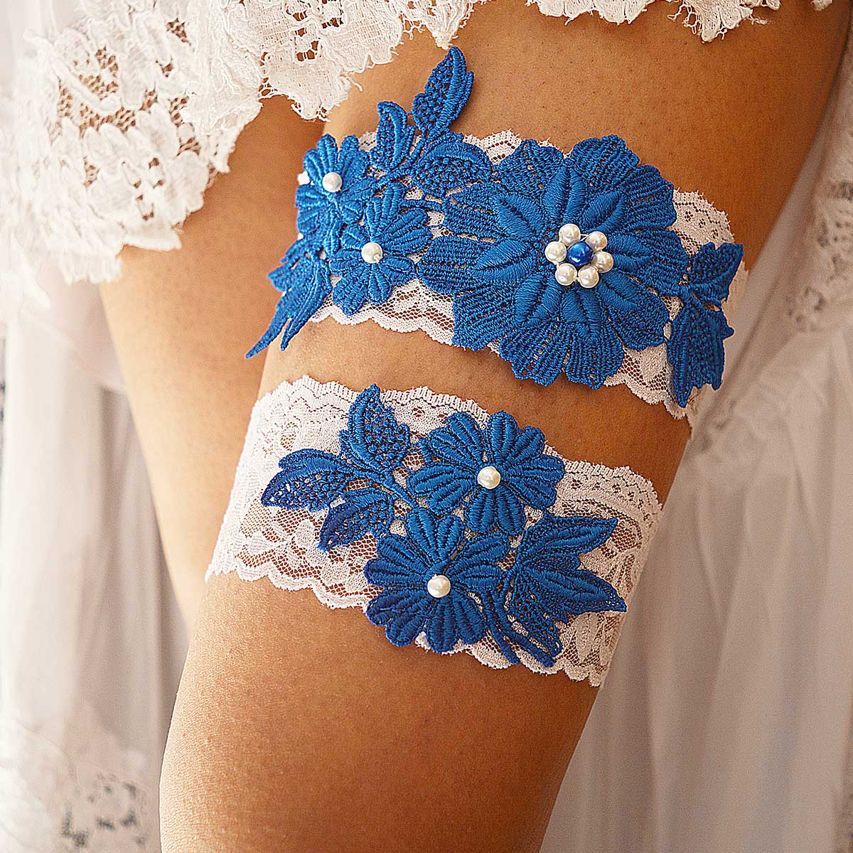 White Bridal Garter With Pearls & Royal Blue Flower Applique - Wedding Garter - SuzannaM Designs