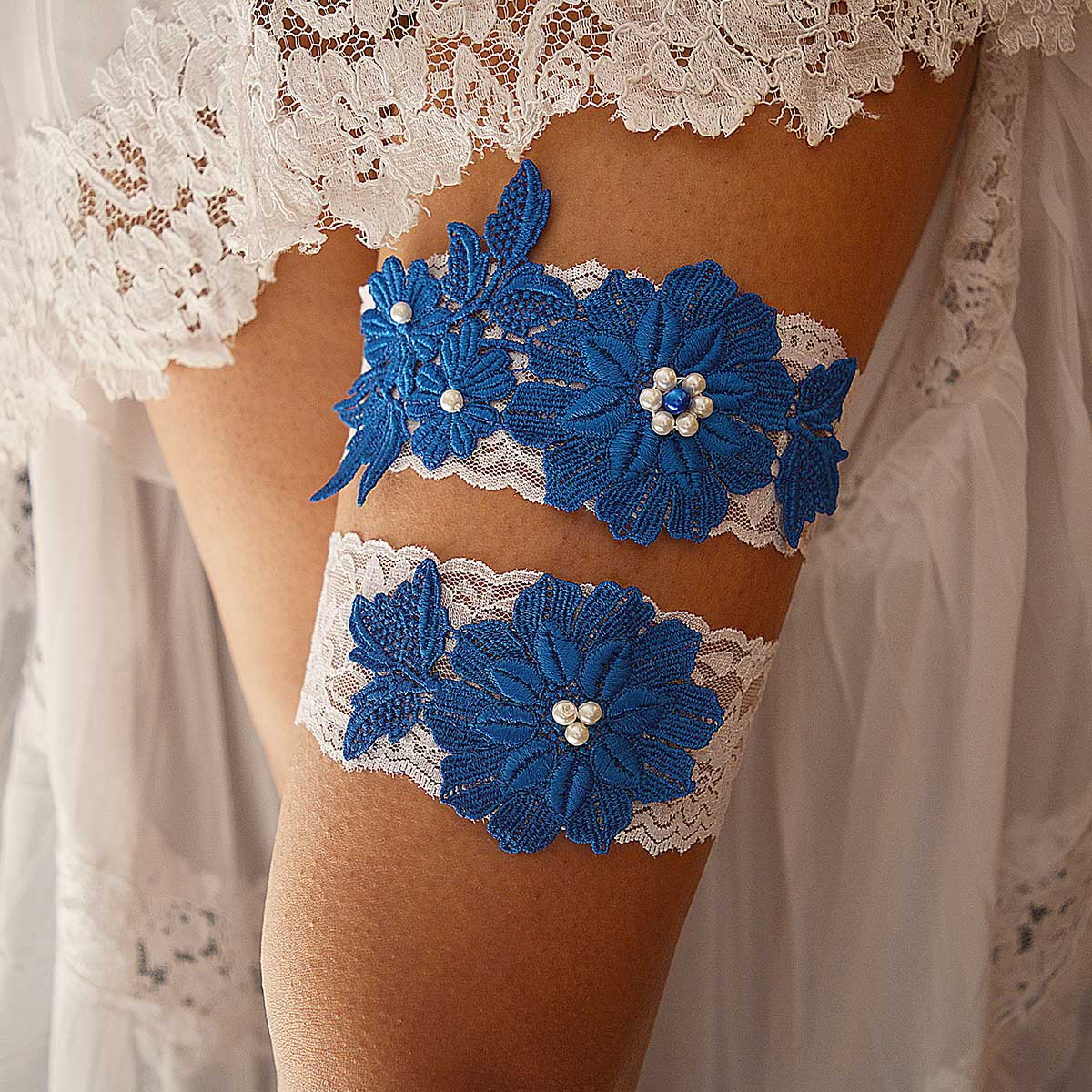 White Bridal Garter With Royal Blue Flower Applique & Pearls