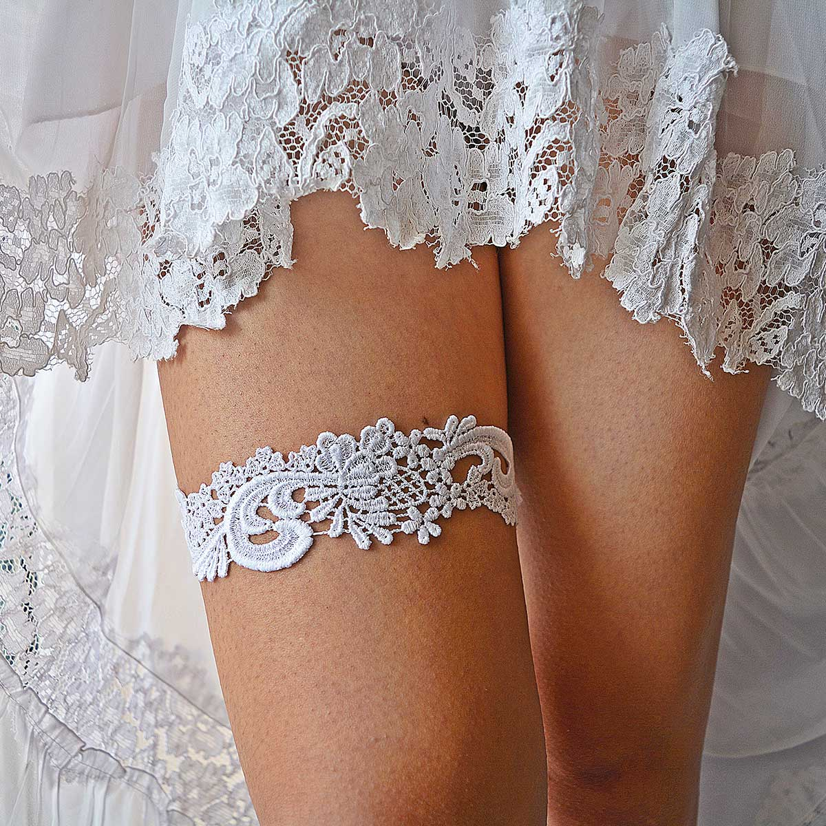 White Bridal Garter With Venice Lace Handmade - Wedding Garter - SuzannaM Designs