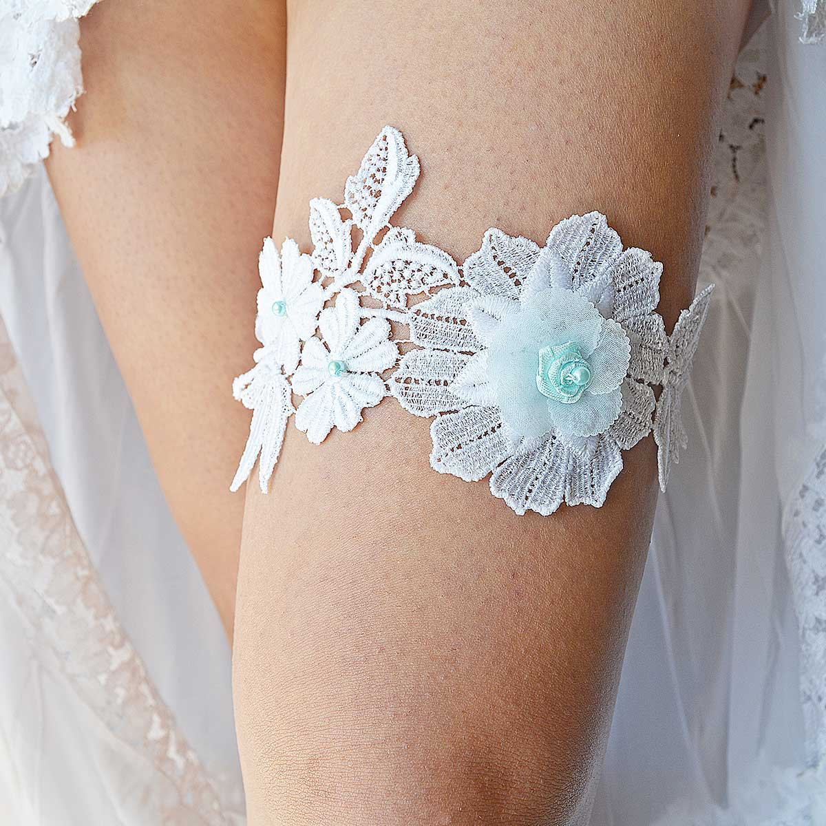 White Garter With Applique Lace & Aqua Blue Pearls & Flower - Wedding Garter - SuzannaM Designs