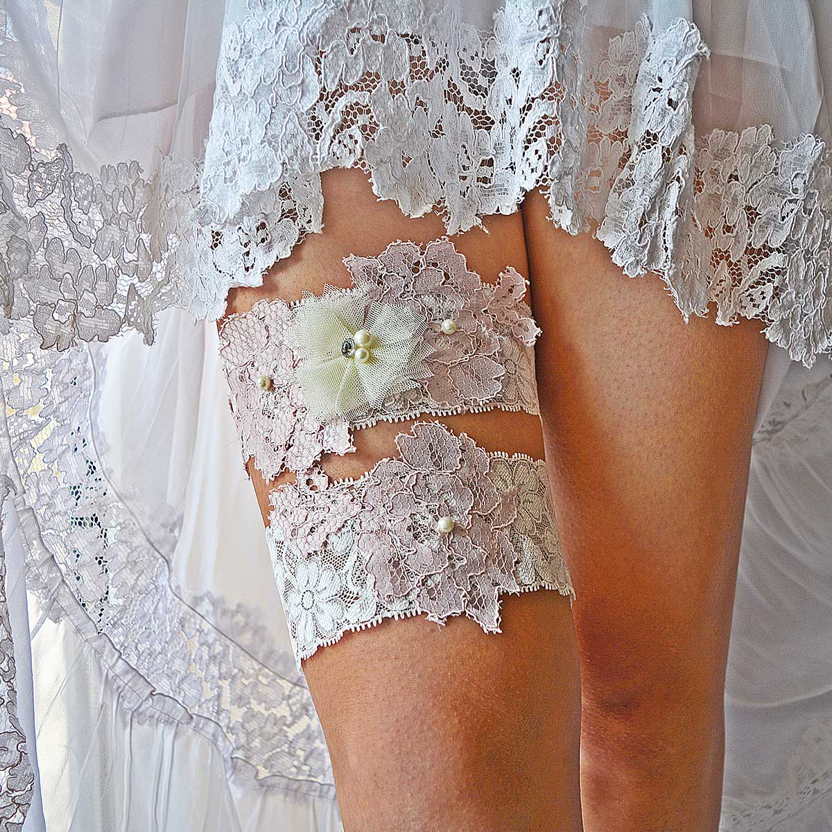 White Garter With Pink Applique Lace & Pearls & Tulle Flower - Wedding Garter - SuzannaM Designs