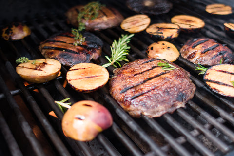 Grilled Portobello & Peach Burgers
