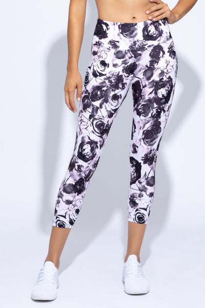 Printed High Waist Capri (wild plum faded roses)