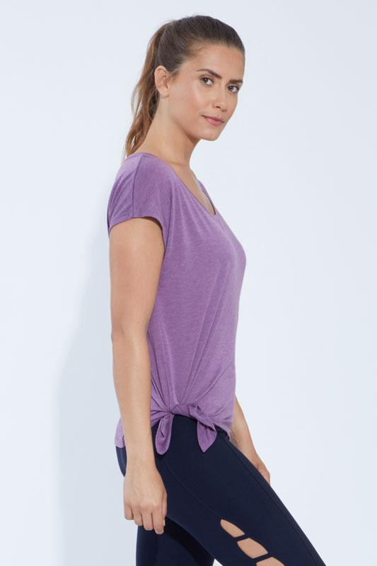 Dolman Side Tie Tee (heather concord grape)