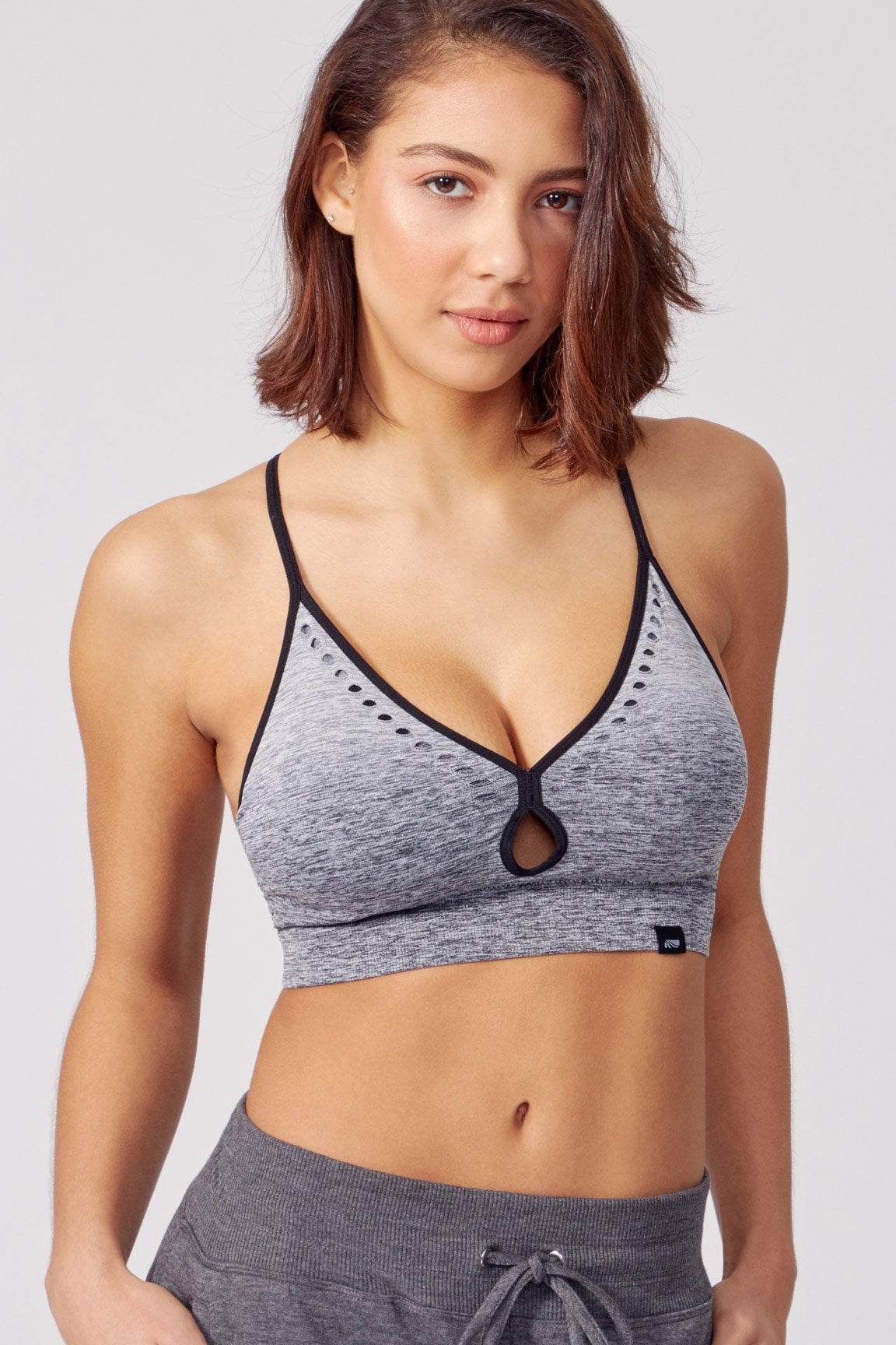 Rosa Seamless Sports Bra (Heather Black)