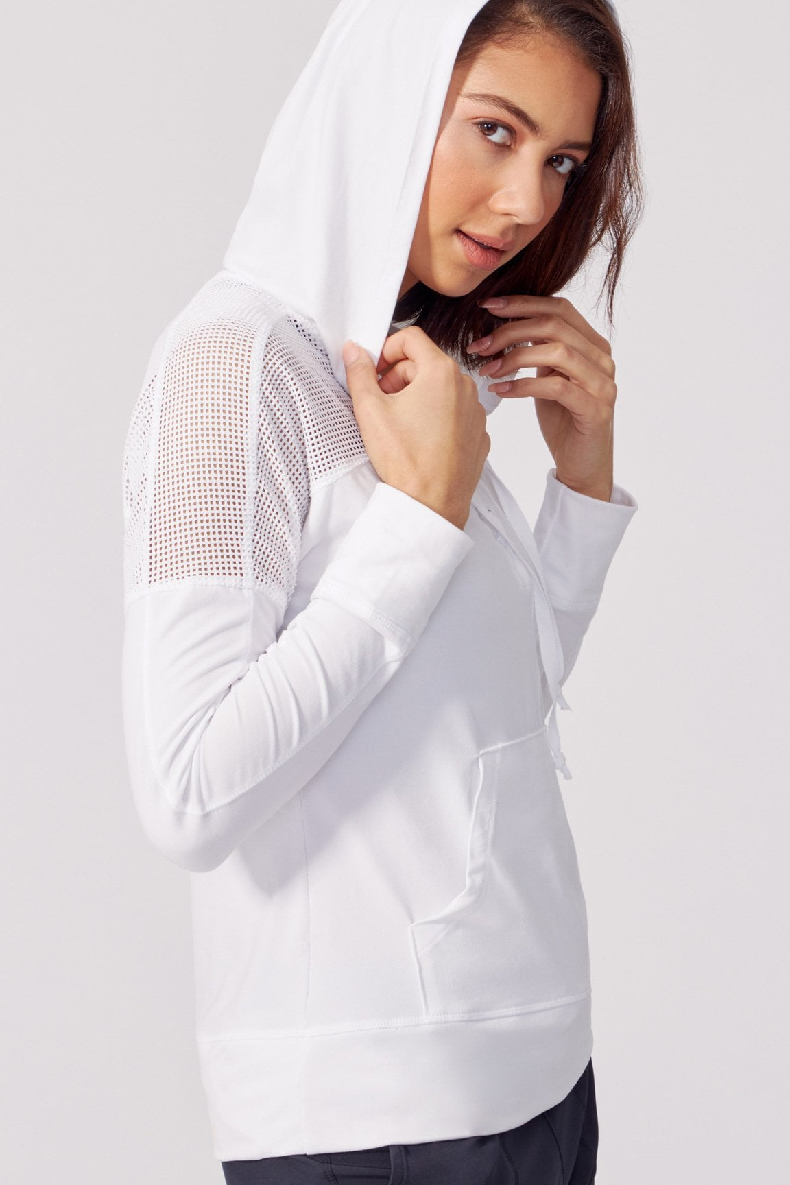 Riley Lace Up Hoodie (White)