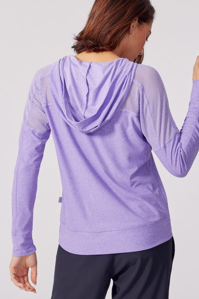 Riley Lace Up Hoodie (Heather Violet Tulip)