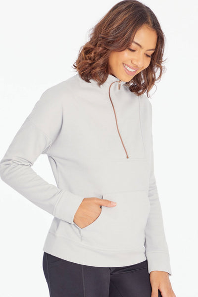 Markie 1/4 Zip (Light Heather Grey)