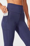 High Rise Flat Waist Mid Calf Capri (Midnight Blue)