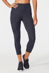 High Rise Flat Waist Mid Calf Capri (Black)