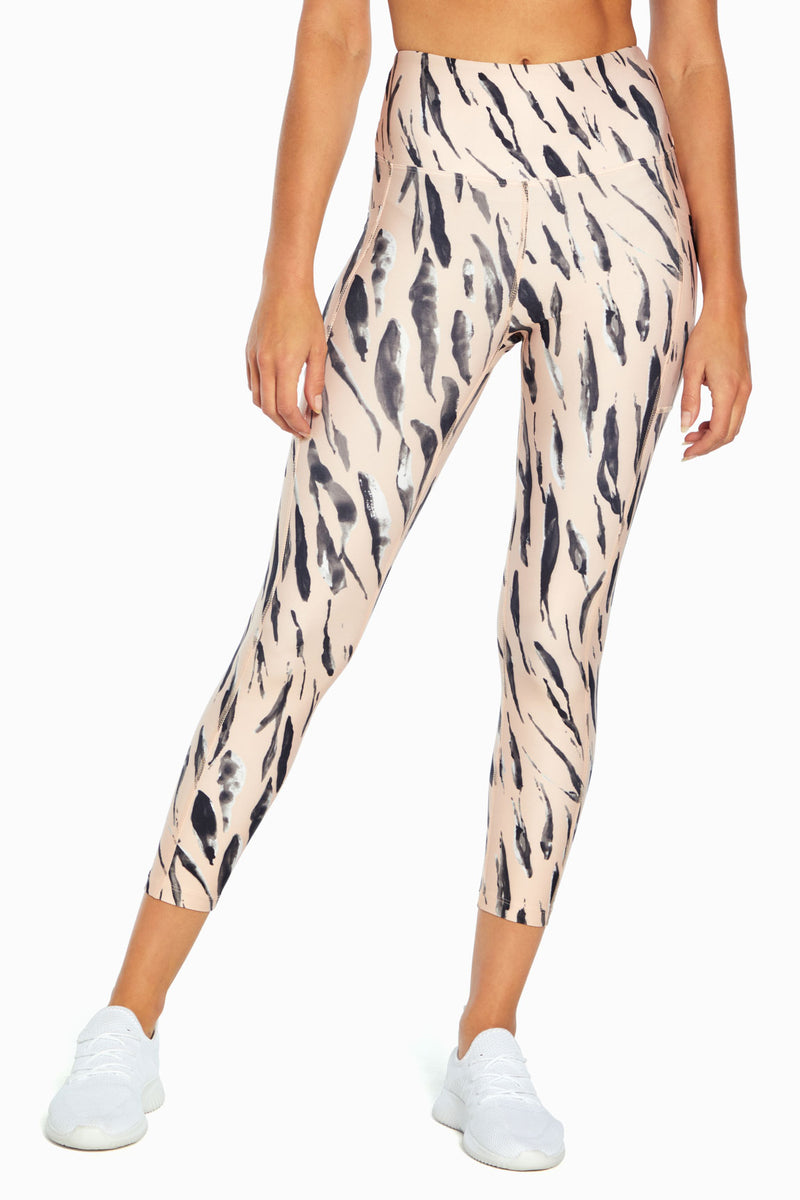 High Rise Flat Waist Mid Calf (Brushstroke Watercolor Zebra)