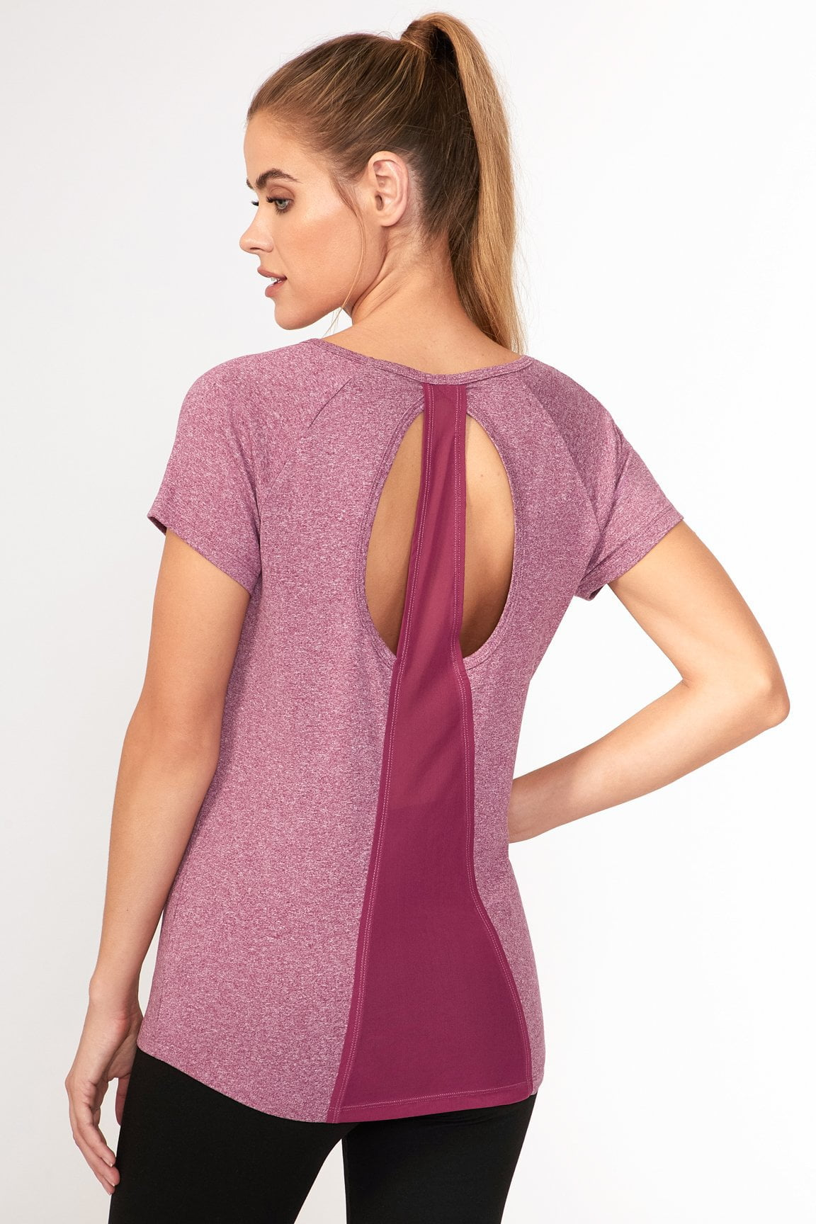 Contour Tee- Heather Magenta Purple