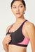 Zip Front Sport Bra (Black/ H. Beetroot)