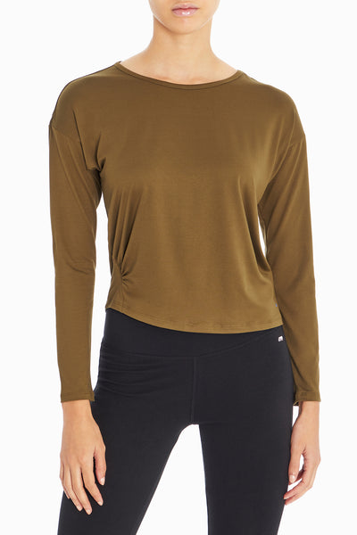 Lola Long Sleeve Top (Dark Olive)