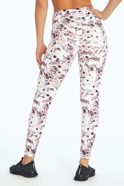 High Waist Printed Legging ( H. Rose/ Purple Ash Chopped Floral)