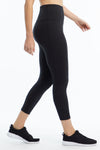 High Rise Tummy Control Mid Calf Capri (Black)