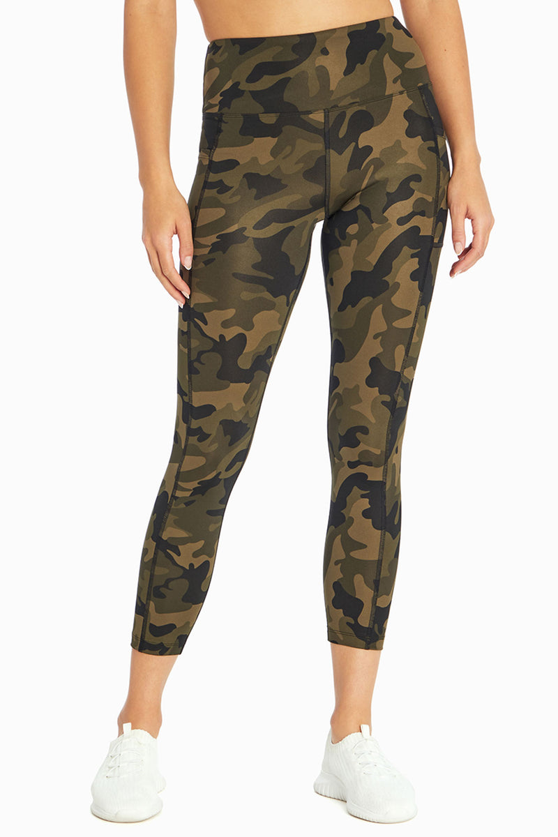 High Rise Flat Waist Ankle Legging (Olive Grove Classy Abstract)