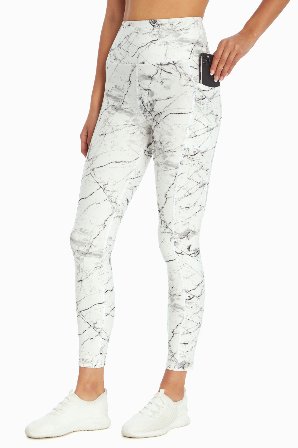 High Rise Flat Waist Ankle Legging (White Light Marble Cracks)