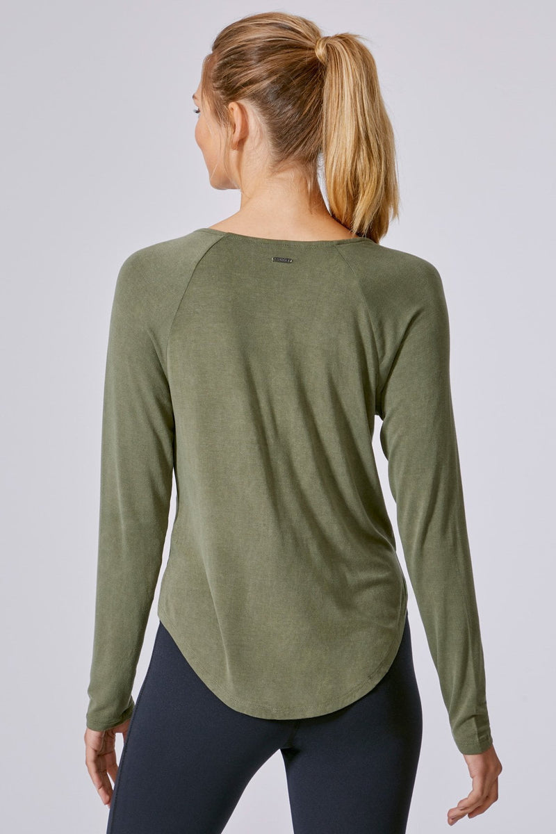 Rhapsody Crisscross Long Sleeve Top (Juniper green)