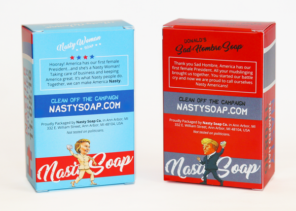 Back of Nasty Woman Soap: We Got It Wrong packaging. Featuring Nasty Woman Hillary Clinton and Sad Hombre Donald Trump or Bad Hombre Donald Trump.