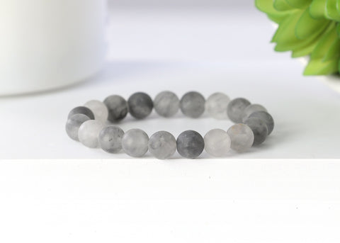 Matte Gray Crystal Quartz 10mm