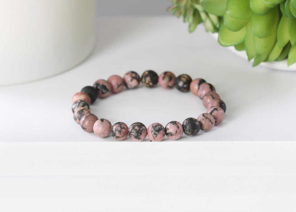 Matte Black & Pink Rhodonite 8mm