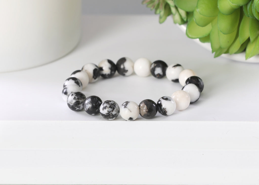 White and Black Zebra Jasper 10mm