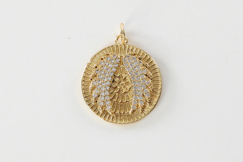 Gold Pave Angel Wings Charm