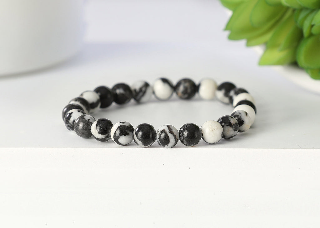 White and Black Zebra Jasper 8mm