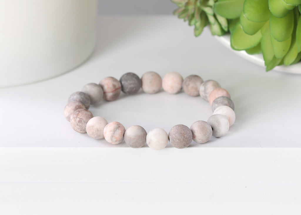 Matte Blush, White and Gray Jasper  10mm