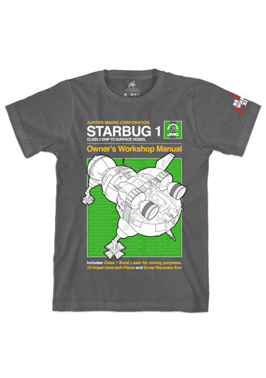 Charcoal Red Dwarf XI 'Starbug 1' Manual Style T-Shirt
